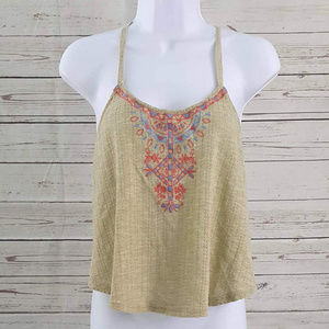 Flying Tomato tan embroidered racerback tank top